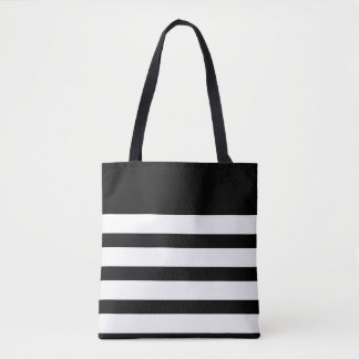 Classic Black and White Striped Tote Bag