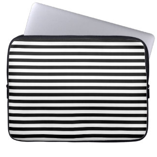 Classic Black and White Stripes Laptop Sleeve