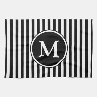 Classic Black And White Stripes Pattern Monogram Tea Towel