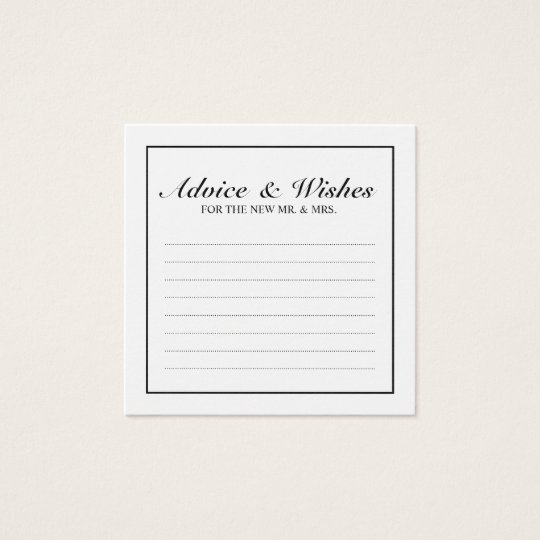 Classic Black and White Wedding Advice and Wishes