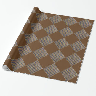 Classic Black Brown Gold Stripes and Squares Wrapping Paper