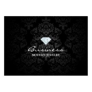 Classic Black Damask Modern Jewelry Business Card