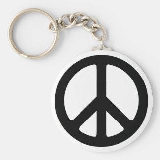 Classic Black Groovy Peace Symbol Basic Round Button Key Ring