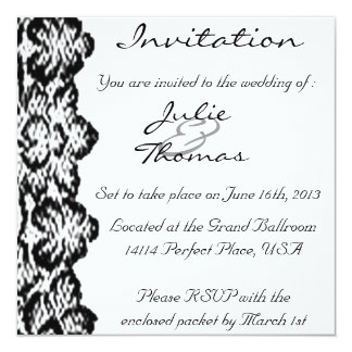 Classic Black Lace Invitation Double Sided