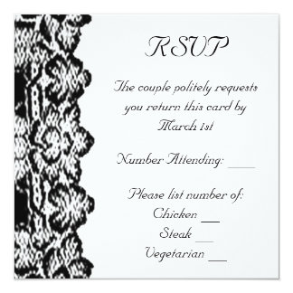 Classic Black Lace RSVP Double Sided 13 Cm X 13 Cm Square Invitation Card