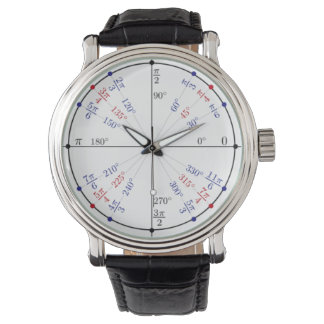 Classic Black Leather Unit Circle Wristwatch