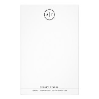 Classic Black Monogrammed Stationery
