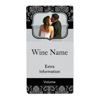 Classic Black Pattern Wine Label With Kisses Shipping Label