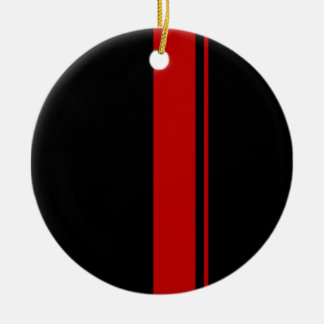 Classic Black & RED Race Car Stripes Round Ceramic Decoration