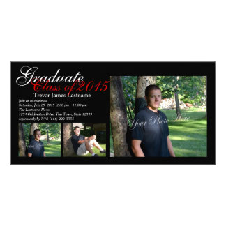 Classic Black Tri-Photo Graduation Photo Cards