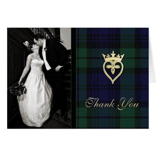 Classic Black Watch Plaid Photo Thank You Card