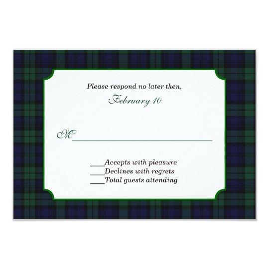 Classic Black Watch Tartan Wedding RSVP Card
