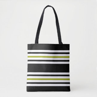 Classic Black, White and Chartreuse Striped Tote Bag