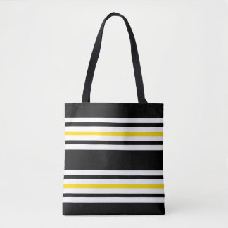 Classic Black, White and Yellow Striped Tote Bag