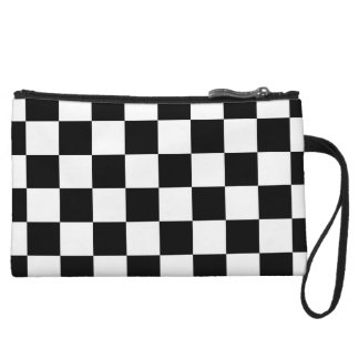 Classic Black White Checker Checkered Flag Wristlet Purses