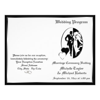 Classic Black White Customizable Wedding Program 21.5 Cm X 28 Cm Flyer