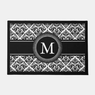 Classic Black White Damask Floral Pattern Monogram Doormat