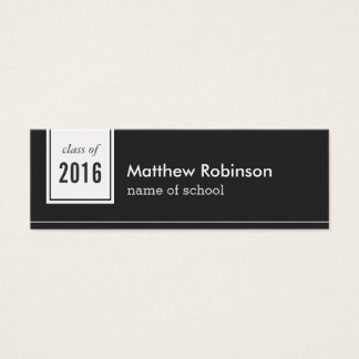 Classic Black White Formal Graduation Name Card