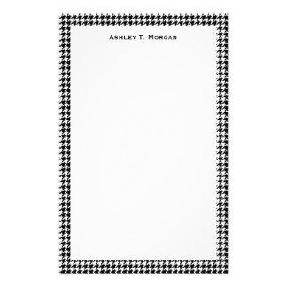 Classic Black White Houndstooth Customised Stationery