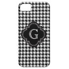 Classic Black White Houndstooth With Monogram Case For The iPhone 5