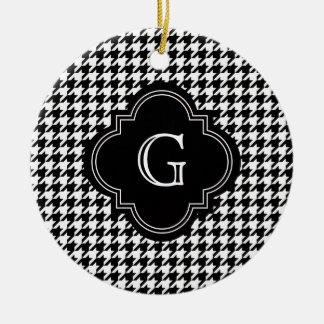 Classic Black White Houndstooth With Monogram Christmas Ornament