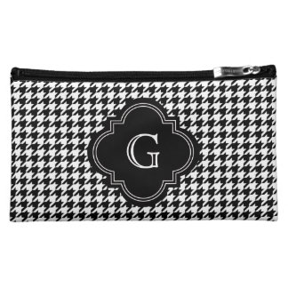 Classic Black White Houndstooth With Monogram Makeup Bag