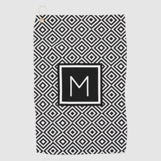 Classic Black White Monogrammed Golf Towel