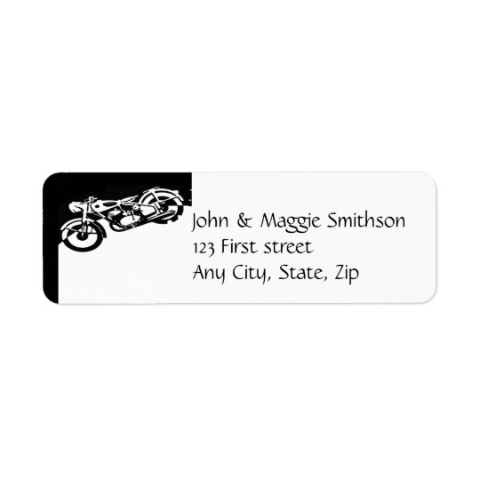 Classic Black White Motorcycle Logo custom label