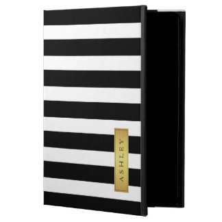 Classic Black White Stripe Pattern Gold Label Name