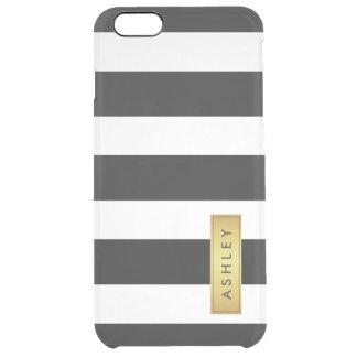 Classic Black White Stripe Pattern Gold Label Name Clear iPhone 6 Plus Case
