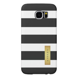Classic Black White Stripe Pattern Gold Label Name Samsung Galaxy S6 Cases