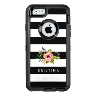 Classic Black White Stripes Floral Custom Name OtterBox Defender iPhone Case