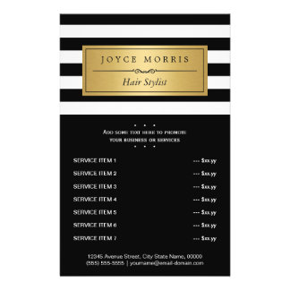 Classic Black White Stripes Gold Service Menu 14 Cm X 21.5 Cm Flyer