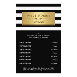 Classic Black White Stripes Gold Service Menu 14 Cm X 21.5 Cm Flyer