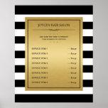 Classic Black White Stripes Gold Service Menu Poster