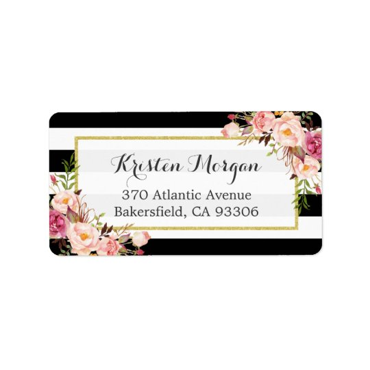 Classic Black White Stripes Pink Floral Decor Address