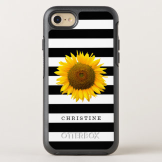 Classic Black White Stripes Rustic Sunflower Name OtterBox Symmetry iPhone 7 Case