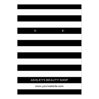 Classic Black White Strips Earring Display Cards Pack Of Chubby Business Cards