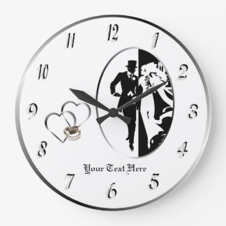 Classic Black White Wedding Wall Clock Customize