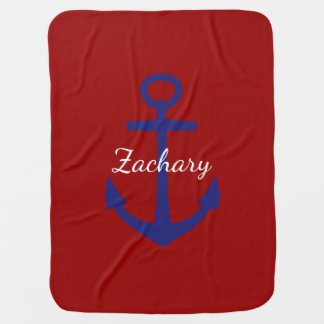 Classic Blue Anchor on Red Personalized Baby Blanket