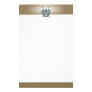 Classic Blue and Brown Damask Stationery