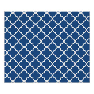 Classic Blue and White Quatrefoil Moroccan Pattern Poster