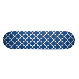 Classic Blue and White Quatrefoil Moroccan Pattern Skateboard