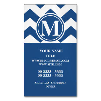 Classic Blue Chevron Monogrammed Magnetic Business Cards