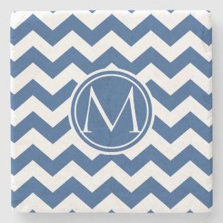 Classic Blue Chevron Monogrammed Stone Beverage Coaster