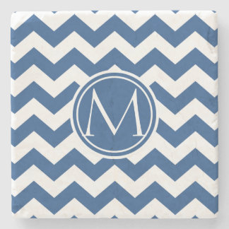 Classic Blue Chevron Monogrammed Stone Coaster