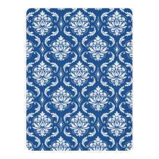 Classic Blue Damask Pattern 17 Cm X 22 Cm Invitation Card