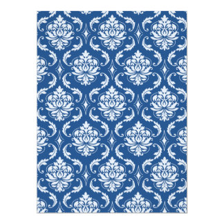 Classic Blue Damask Pattern Personalized Announcements