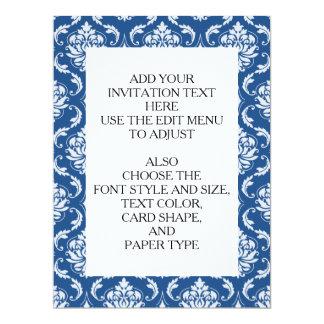 "Classic Blue Damask Pattern 6.5"" X 8.75"" Invitation Card"