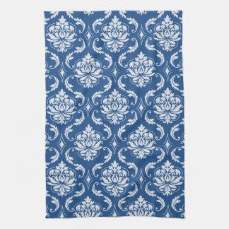 Classic Blue Damask Pattern Tea Towel